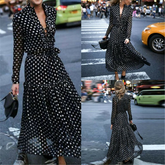 Dot V-neck Long Sleeve Dress