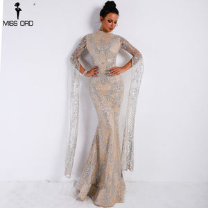 High Neck Long Sleeve Glitter Dress