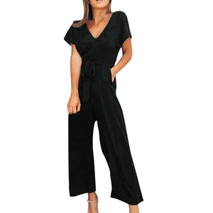 Short Belt Ladies Zipper Casual Jumpsuit