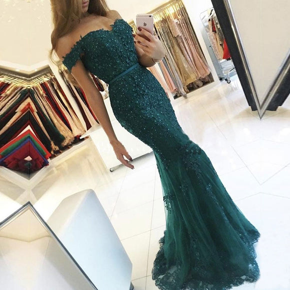 Off the Shoulder Long Mermaid Evening Dress