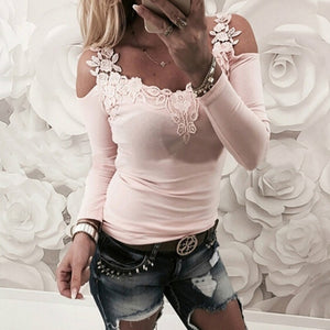 Off-Shoulder Strap Long T-shirts Sleeve Top