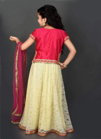 Pretty Coral Color Tafetta Fabric Lehnga