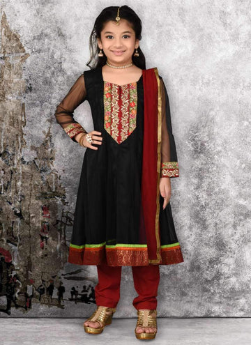 Pretty Black Color Net Fabric Salwar Kameez