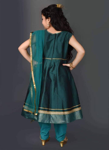 Pretty Teal Color Tafetta Fabric Salwar Kameez