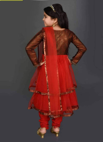 Pretty Red Color Brocade Fabric Salwar Kameez
