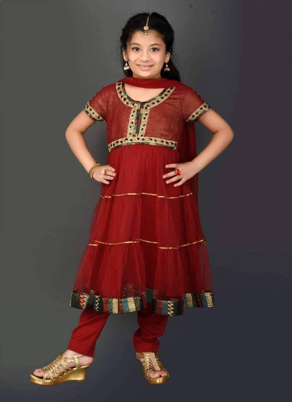 Pretty Maroon Color Georgette Fabric  Salwar Kameez