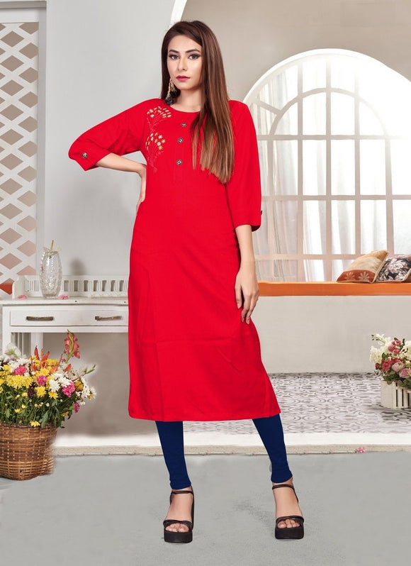 Stylish Red Color Rayon Fabric Casual Kurti