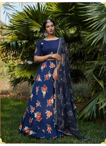 Zingy Navy Blue Color Crepe Fabric Designer Lehenga