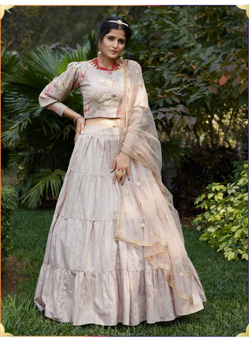 Zingy Beige Color Cotton Fabric Designer Lehenga