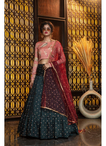 Incisive Green Color Cotton Fabric Designer Lehenga