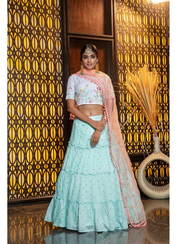 Incisive Aqua Color Cotton Fabric Designer Lehenga