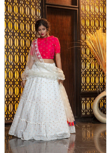 Incisive White Color Cotton Fabric Designer Lehenga