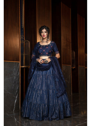 Incisive Navy Blue Color Cotton Fabric Designer Lehenga