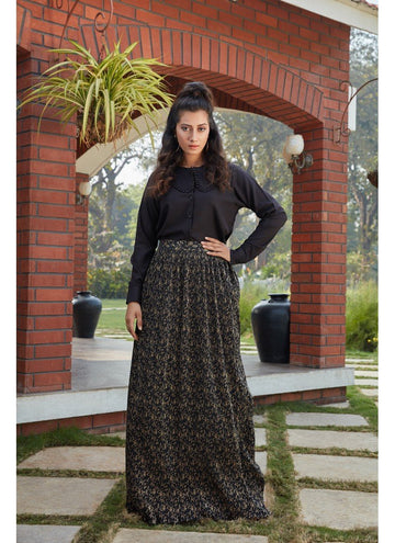 Bewitching Black Color Imported Fabric Fabric Skirt & Top