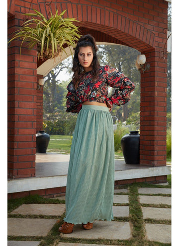 Bewitching Green Color Imported Fabric Fabric Skirt & Top