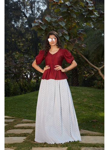 Bewitching White Color Imported Fabric Fabric Skirt & Top
