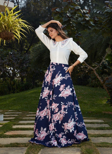 Creditable Navy Blue Color Cotton Fabric Skirt & Top