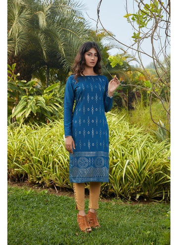 Engaging Blue Color Cotton Fabric Cotton Kurti
