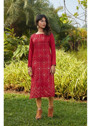 Engaging Red Color Cotton Fabric Cotton Kurti