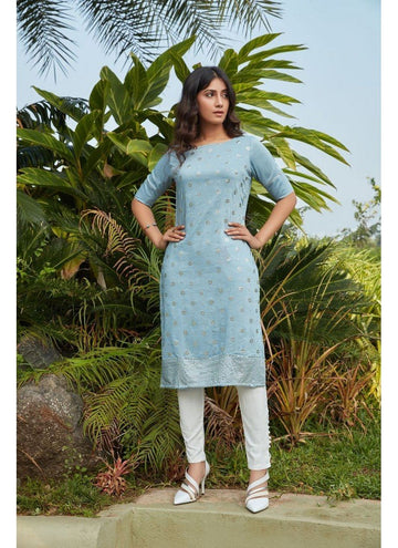 Engaging Grey Color Cotton Fabric Cotton Kurti