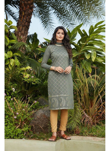 Engaging Green Color Cotton Fabric Cotton Kurti