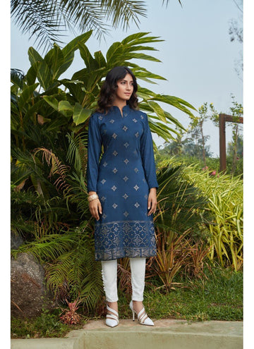 Engaging Navy Blue Color Cotton Fabric Cotton Kurti