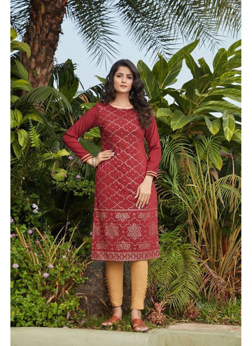 Engaging Maroon Color Cotton Fabric Cotton Kurti