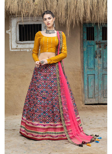 Magnetise Multi Color Silk Fabric Designer Lehenga