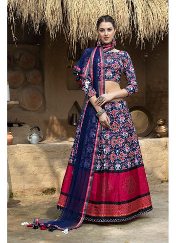 Magnetise Navy Blue Color Silk Fabric Designer Lehenga