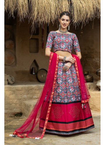 Magnetise Grey Color Silk Fabric Designer Lehenga