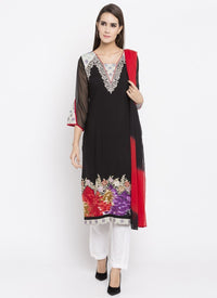 Beautiful Black Color Cotton Fabric Kurti Set