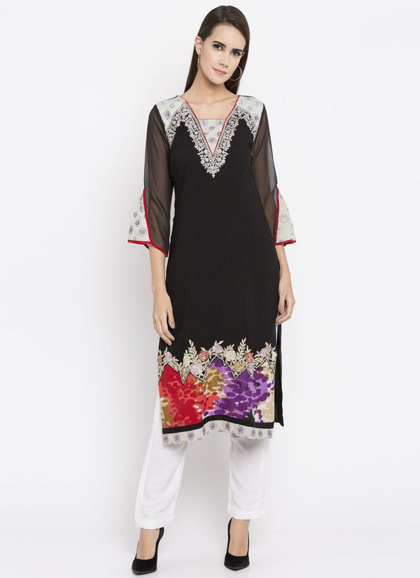 Beautiful Black Color Cotton Fabric Kurti