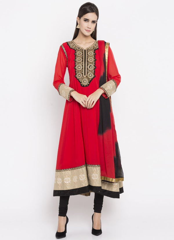 Beautiful Red Color Georgette Fabric Kurti Set