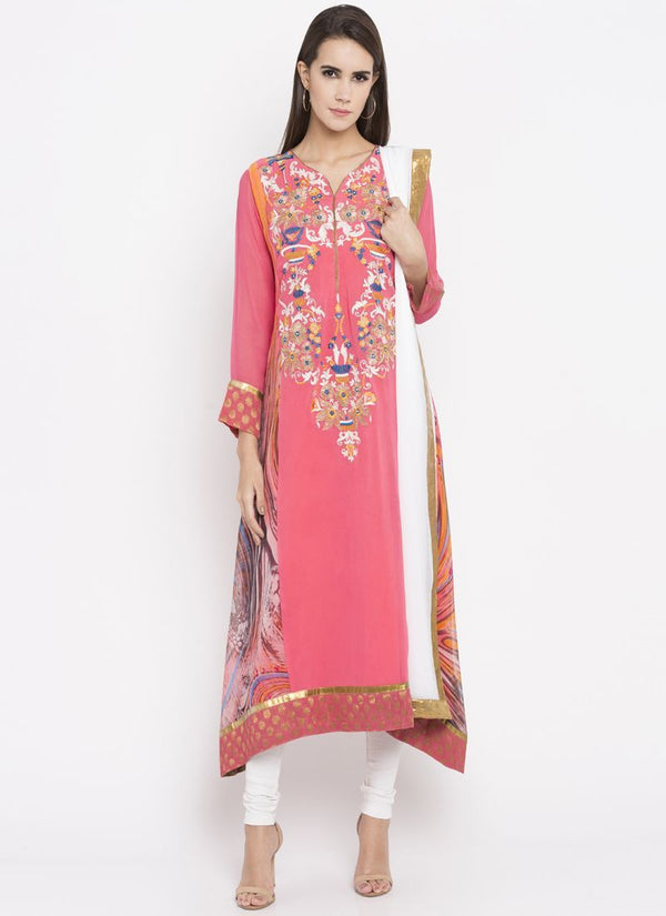 Beautiful Pink Color Georgette Fabric Kurti Set