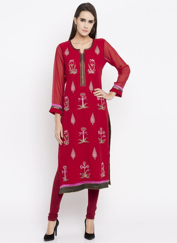 Beautiful Red Color Georgette Fabric Kurti