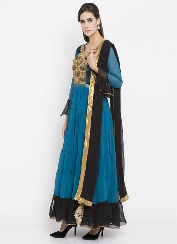 Beautiful Blue Color Georgette Fabric Kurti Set