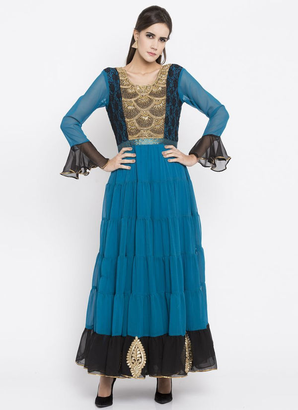 Beautiful Blue Color Georgette Fabric Kurti
