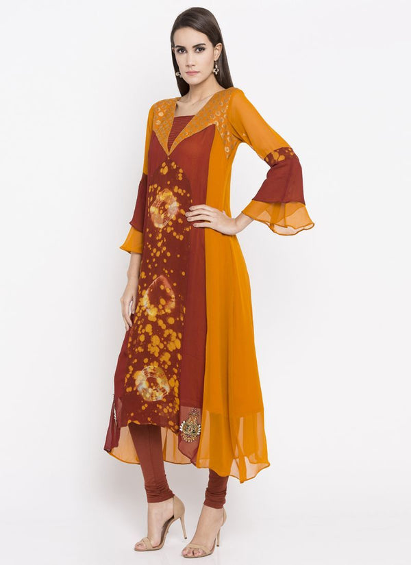 Beautiful Orange Color Georgette Fabric Kurti