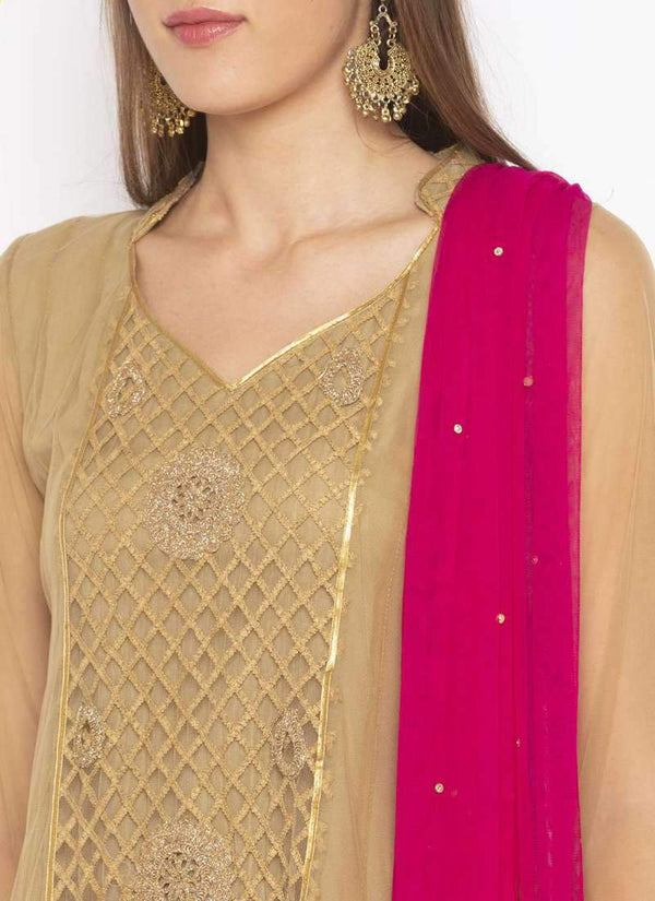 Amazing Beige Color Net Fabric Kurti Set