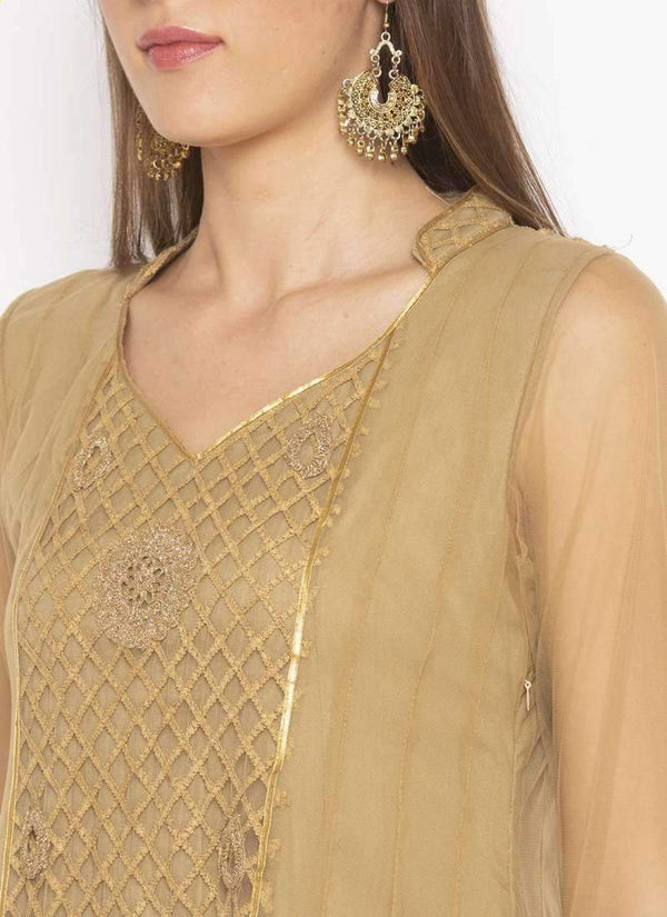 Amazing Beige Color Net Fabric Kurti