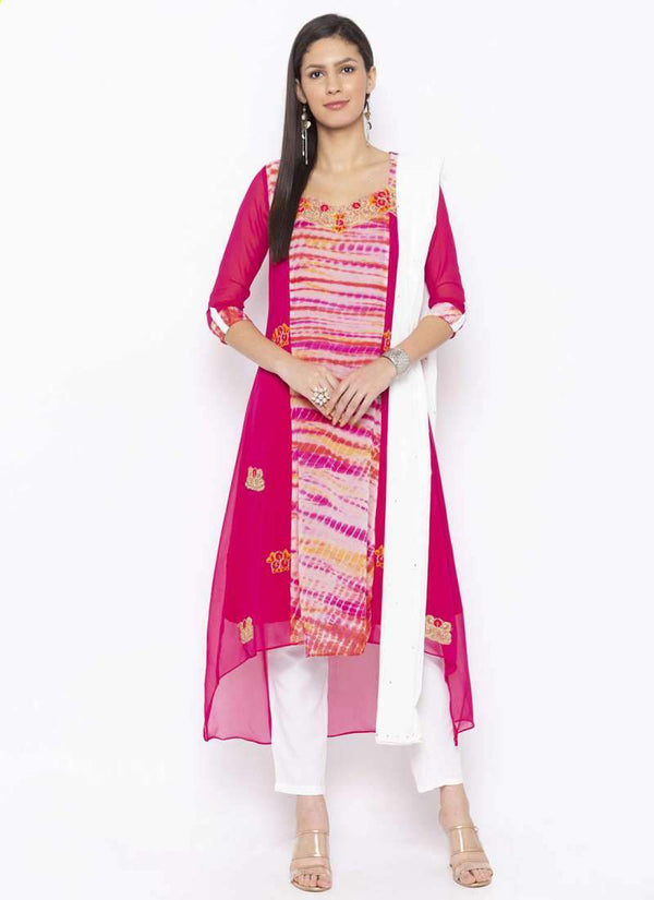 Amazing Pink  Color Georgette Fabric Kurti Set