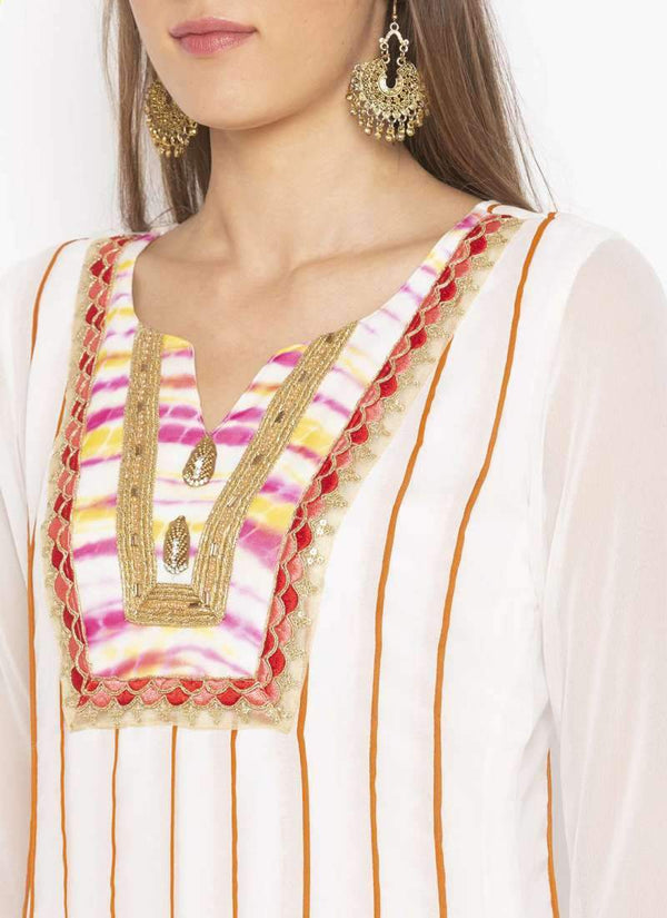Amazing White Color Georgette Fabric Kurti