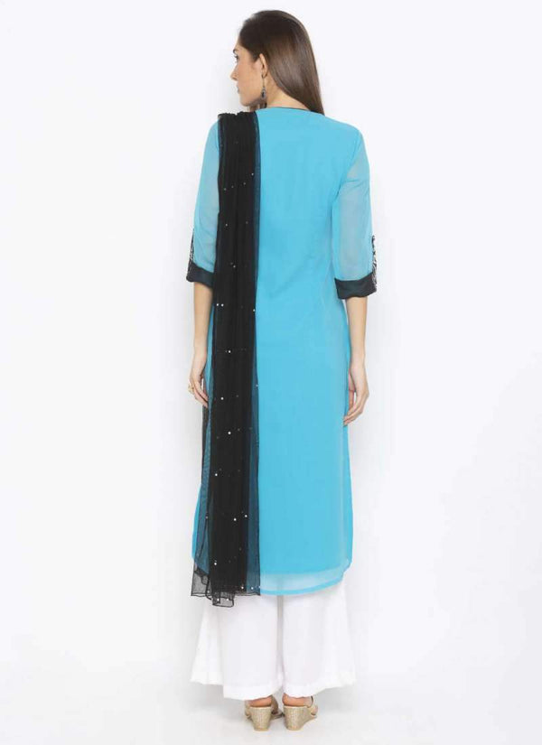 Amazing Aqua Color Georgette Fabric Kurti Set
