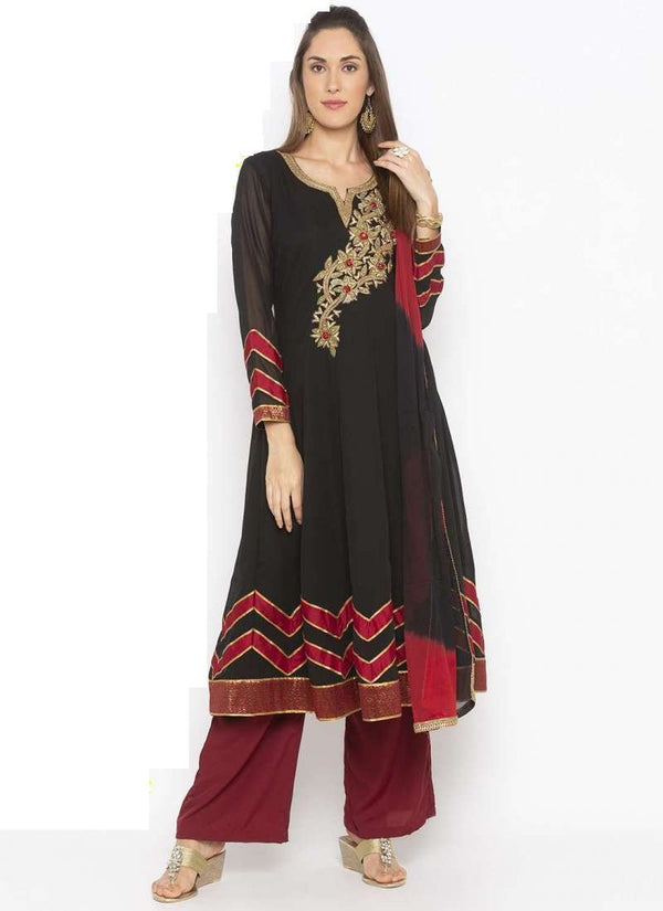 Amazing Black Color Georgette Fabric Kurti Set
