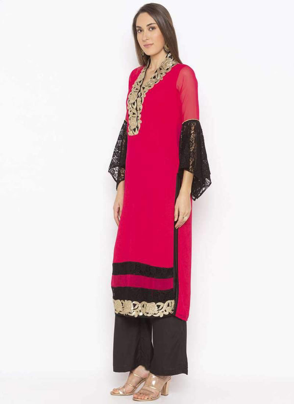 Amazing Coral Color Georgette Fabric Kurti Set