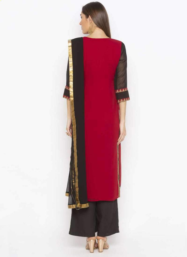 Amazing Maroon Color Georgette Fabric Kurti Set