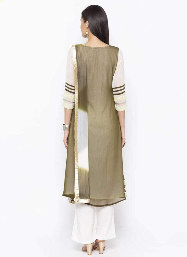 Amazing Green Color Georgette Fabric Kurti Set