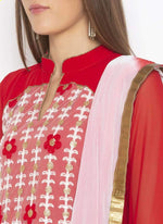 Amazing Red  Color Georgette Fabric Kurti Set