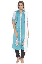 Amazing Aqua Color Cotton Fabric Designer Kurti Set