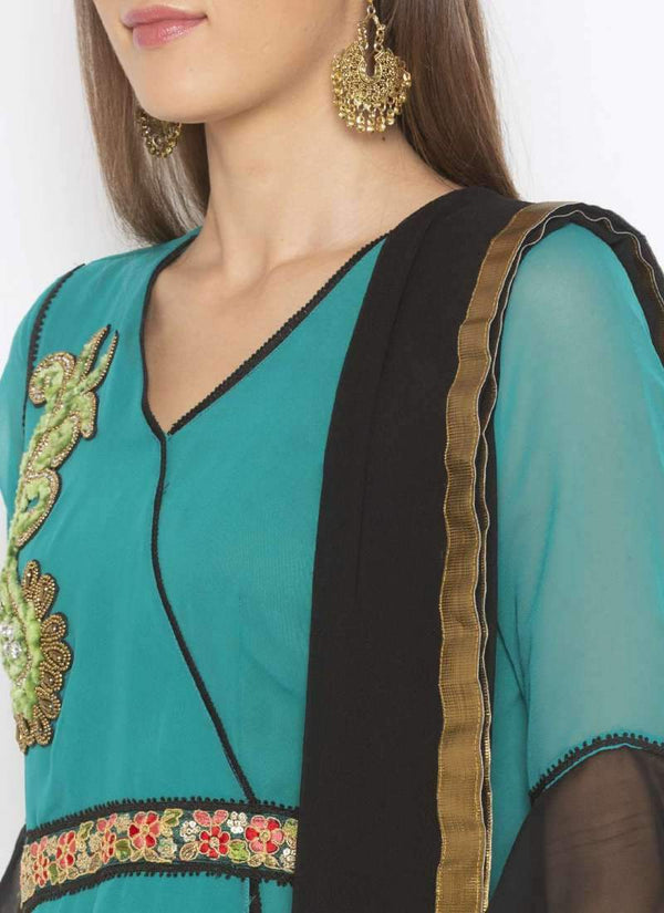 Amazing Turquoise Color Georgette Fabric Kurti Set